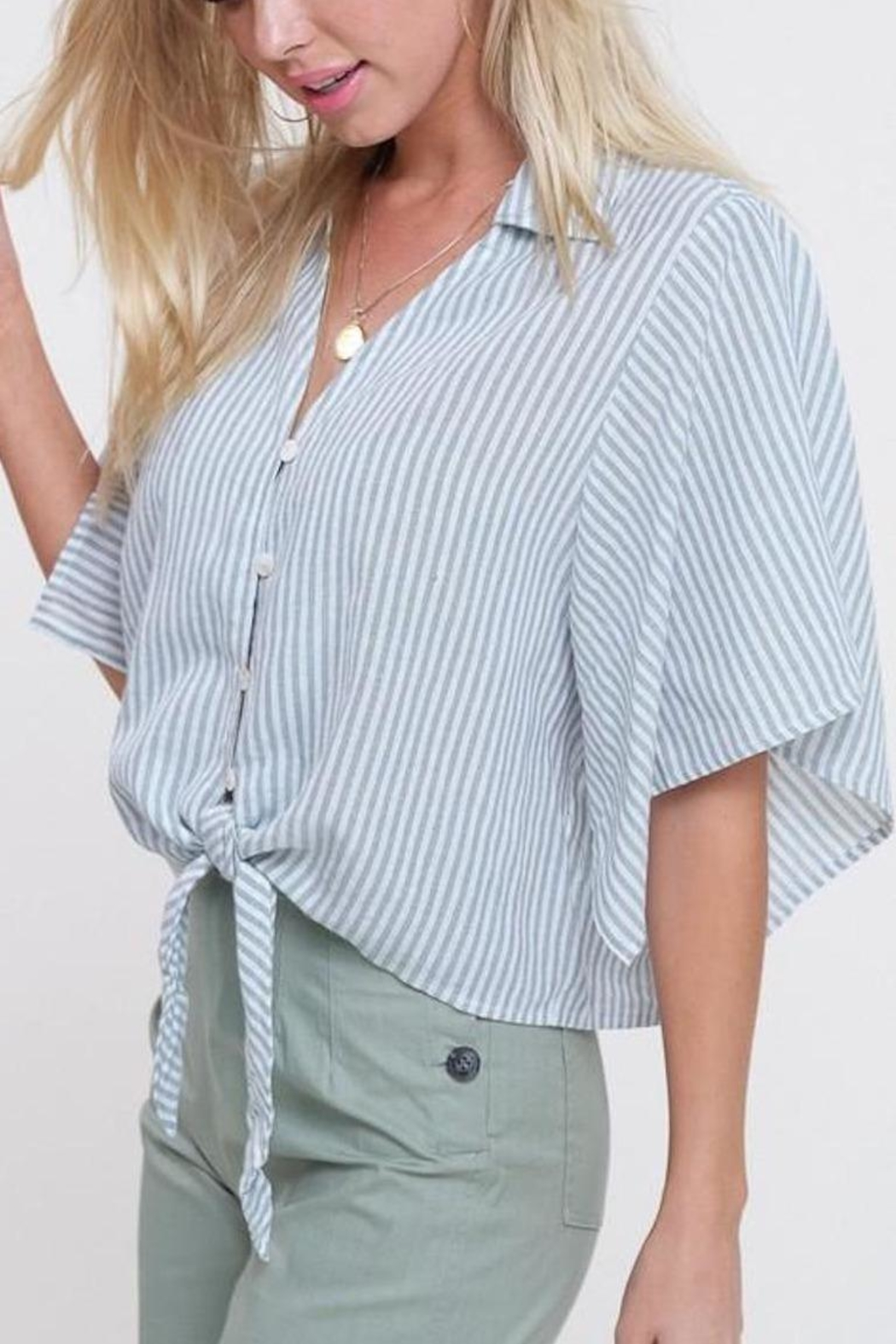 Mittoshop Mint Striped Front-Tie-Top - Side Cropped Image