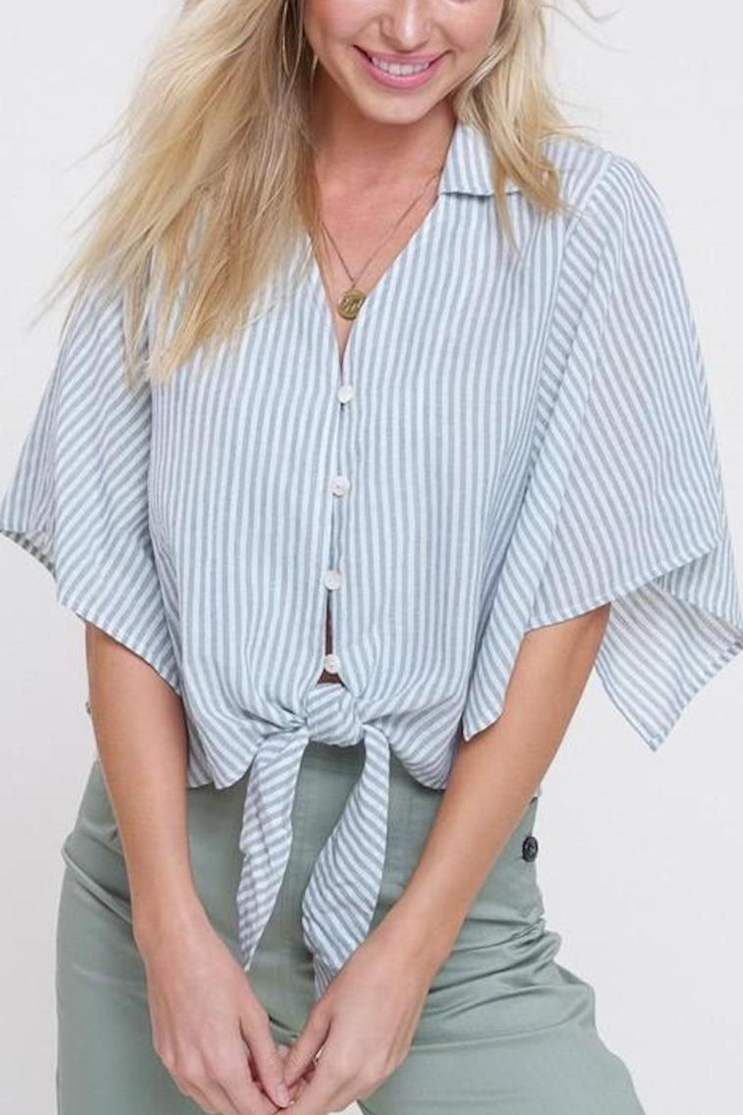 Mittoshop Mint Striped Front-Tie-Top - Main Image