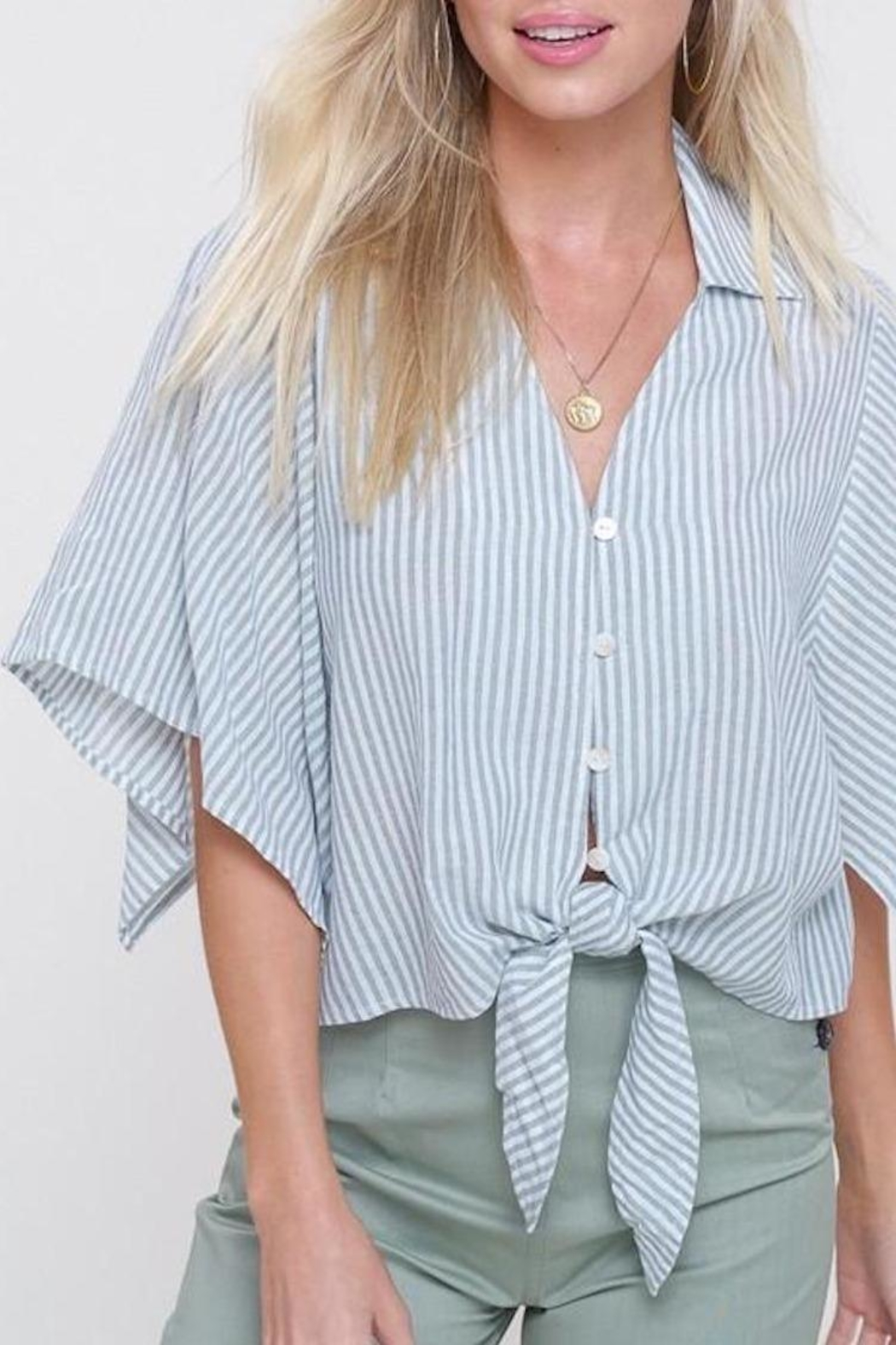 Mittoshop Mint Striped Front-Tie-Top - Front Full Image