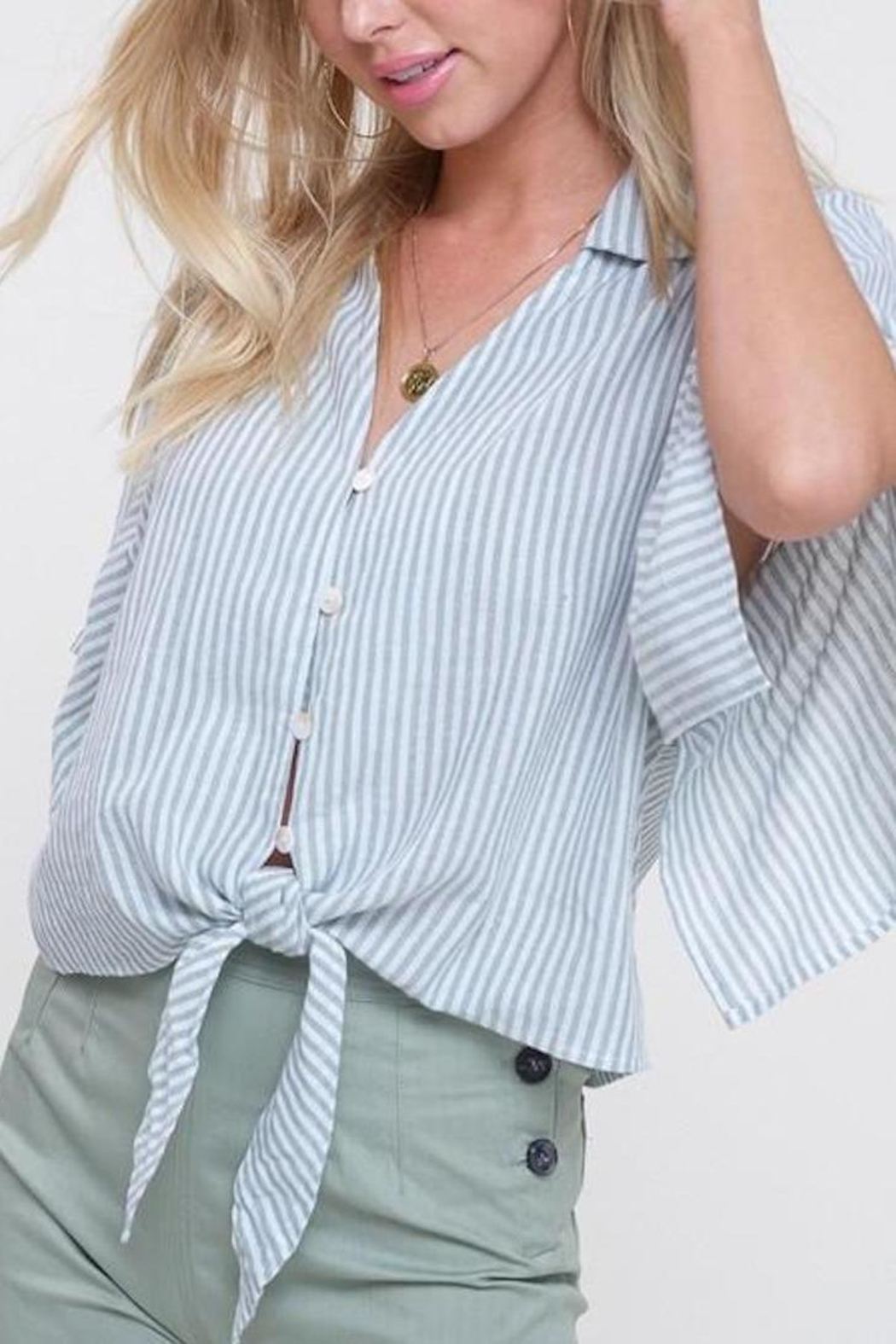 Mittoshop Mint Striped Front-Tie-Top - Back Cropped Image