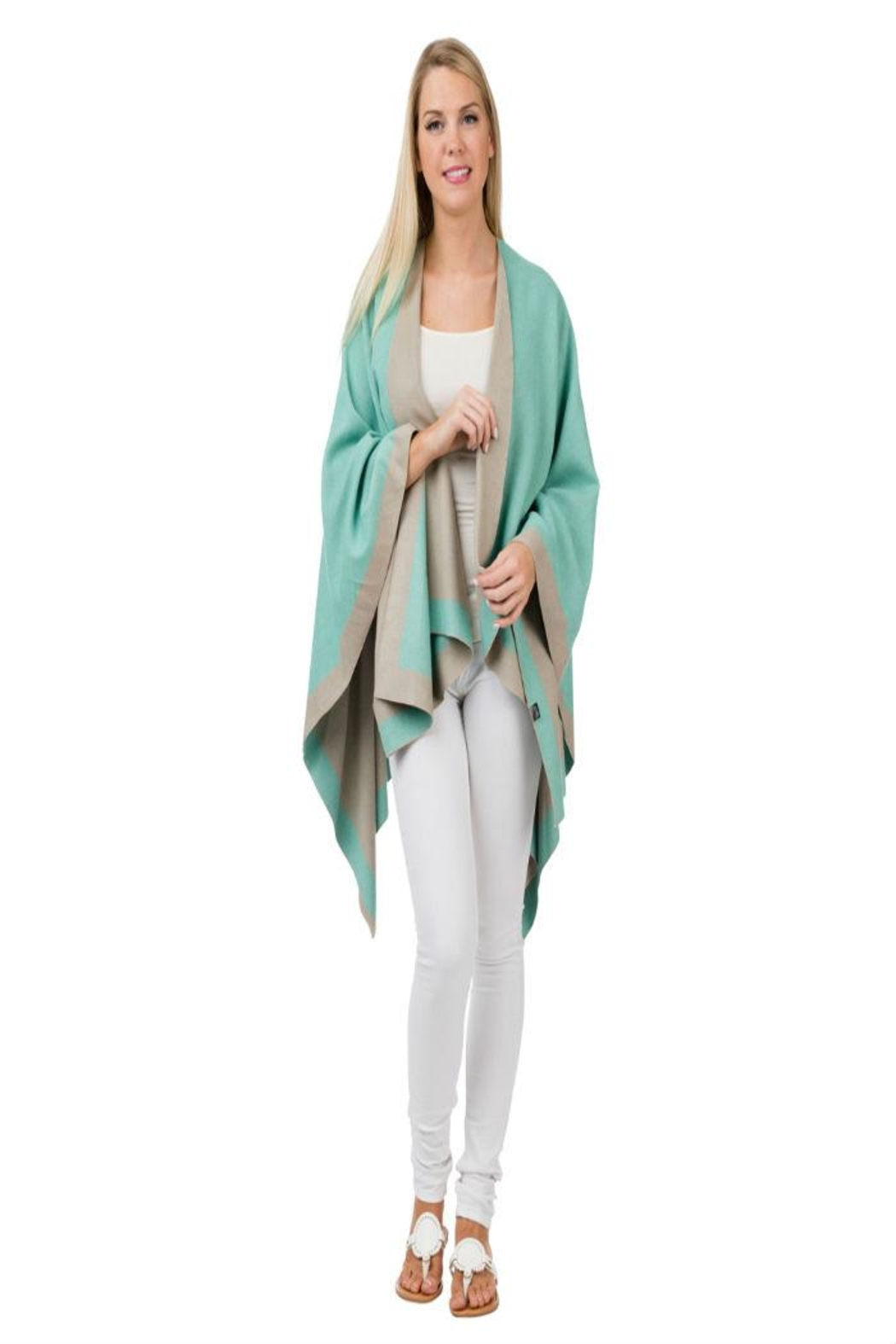 Top It Off Mint Taupe Poncho - Main Image