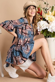 Mint Cloud Boutique Aztec Patchwork Babydoll Tunic - Front full body