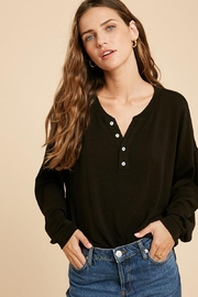 Mint Cloud Boutique Casual Heathered Henley Knit Top - Product Mini Image