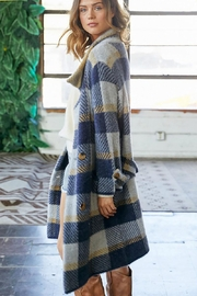 Mint Cloud Boutique Checkered Plaid Long Jacket Coat - Front full body