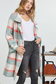 Mint Cloud Boutique Checkered Plaid Long Jacket Coat - Product List Image
