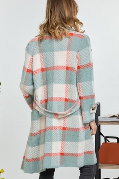 Mint Cloud Boutique Checkered Plaid Long Jacket Coat - Alternate List Image