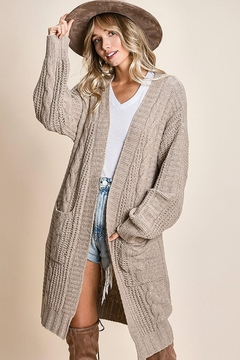 Mint Cloud Boutique Chunky Cable Knit Cardigan - Product List Image