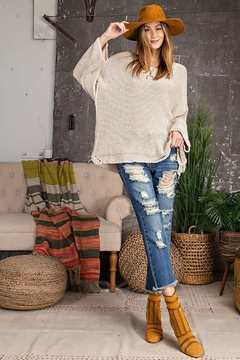 Mint Cloud Boutique Chunky Knit Boxy Pullover Sweater - Alternate List Image