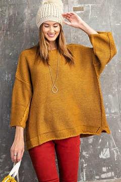 Mint Cloud Boutique Chunky Knit Boxy Pullover Sweater - Product List Image