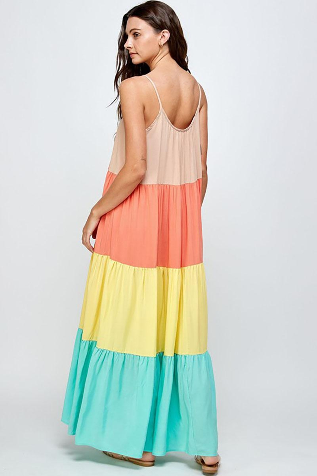 Mint Cloud Boutique Colorblock Rainbow Maxi Dress - Front Full Image