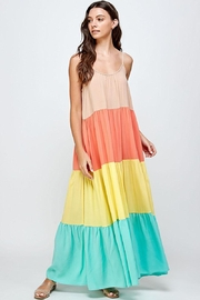 Mint Cloud Boutique Colorblock Rainbow Maxi Dress - Front cropped