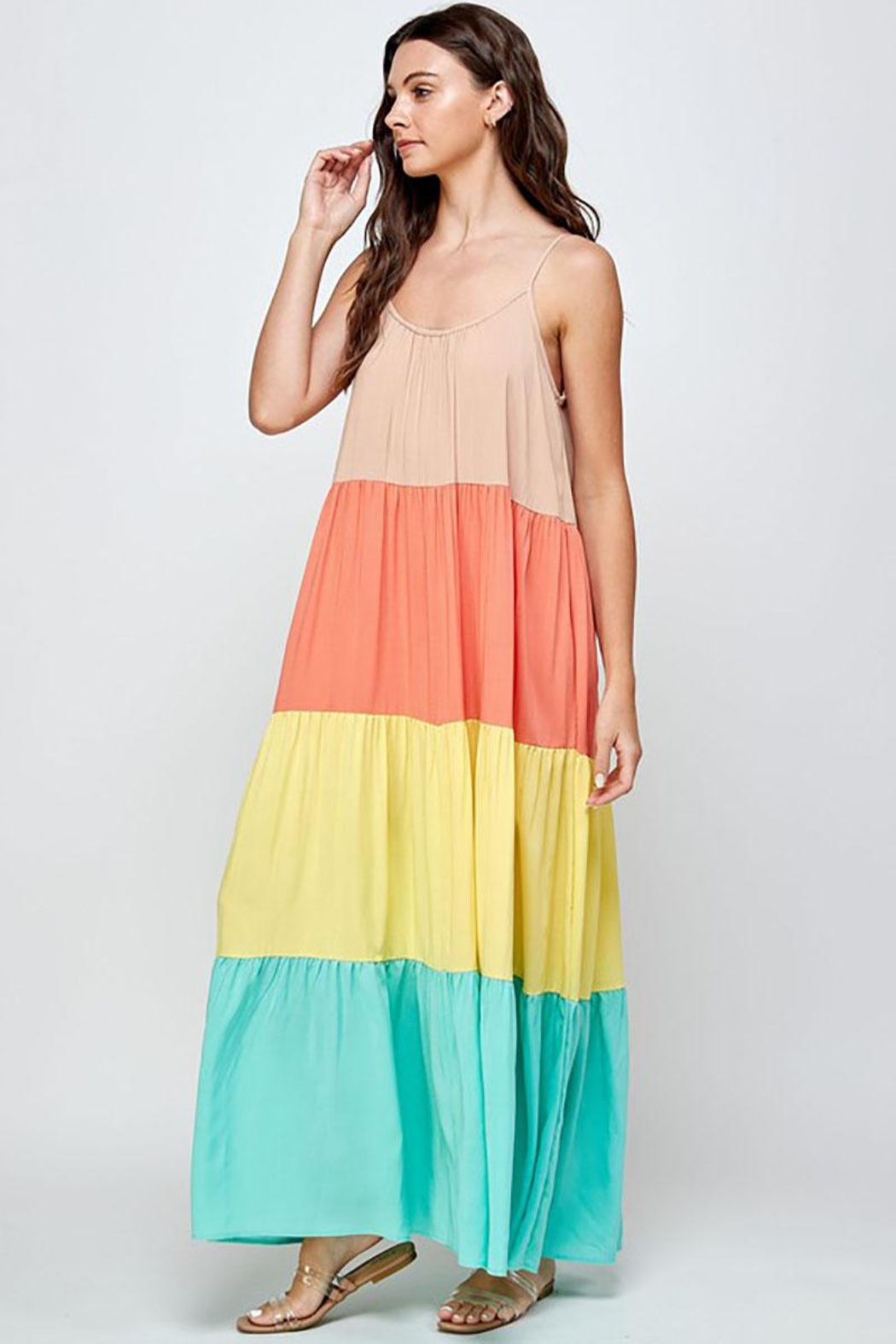 Mint Cloud Boutique Colorblock Rainbow Maxi Dress - Side Cropped Image