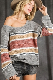 Mint Cloud Boutique Colorblock Stripe Knit Pullover Sweater Top - Front full body