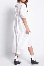 Mint Cloud Boutique Cotton Puff Sleeve Midi Dress - Front full body