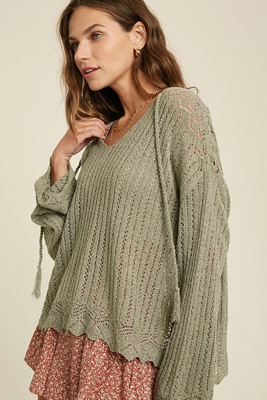 Mint Cloud Boutique Crochet Textured Knit Pullover - Side Cropped Image