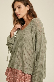 Mint Cloud Boutique Crochet Textured Knit Pullover - Side cropped