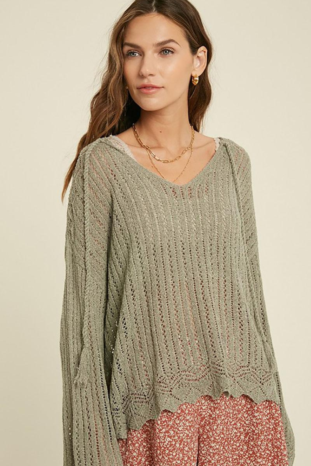 Mint Cloud Boutique Crochet Textured Knit Pullover - Back Cropped Image