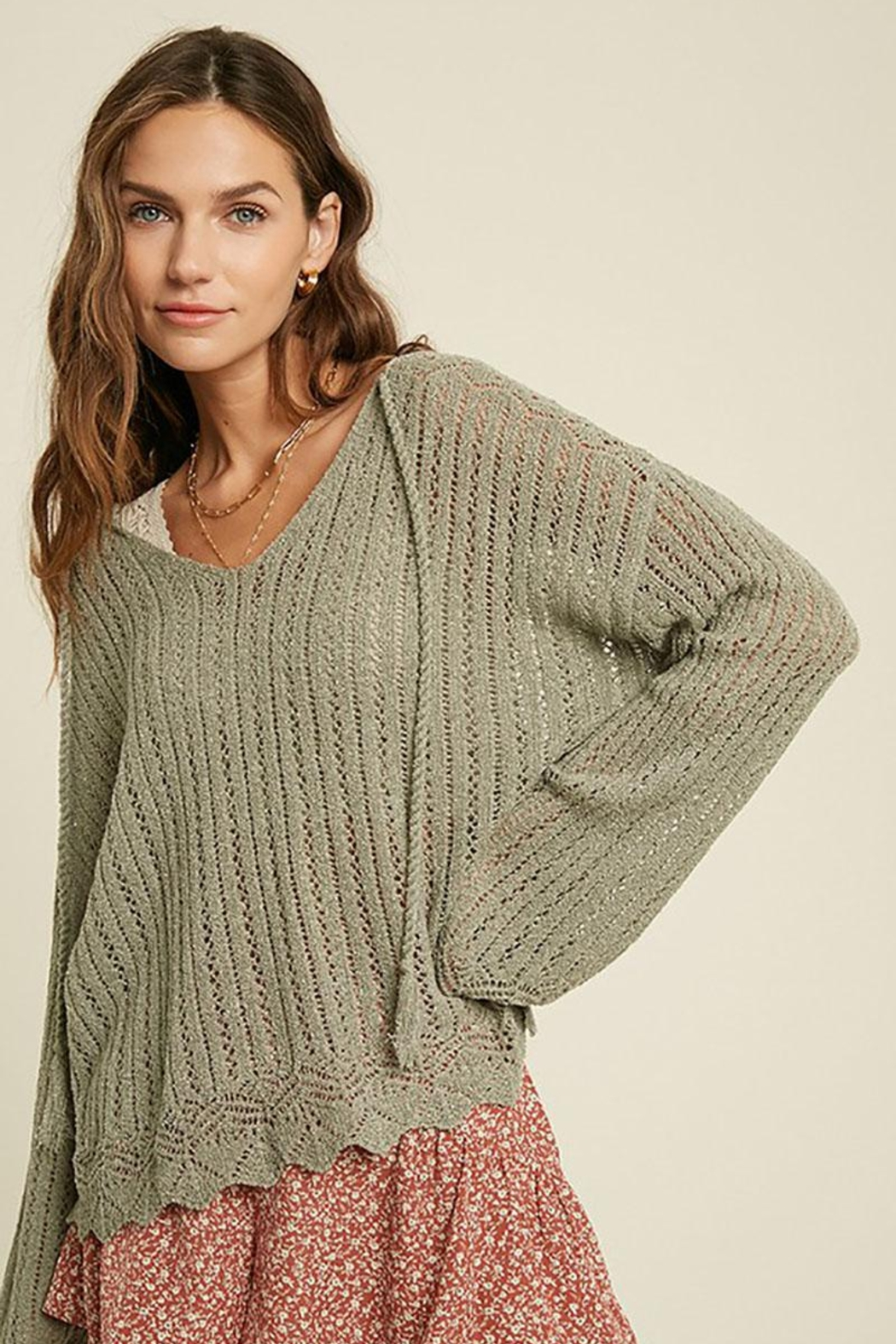 Mint Cloud Boutique Crochet Textured Knit Pullover - Front Full Image