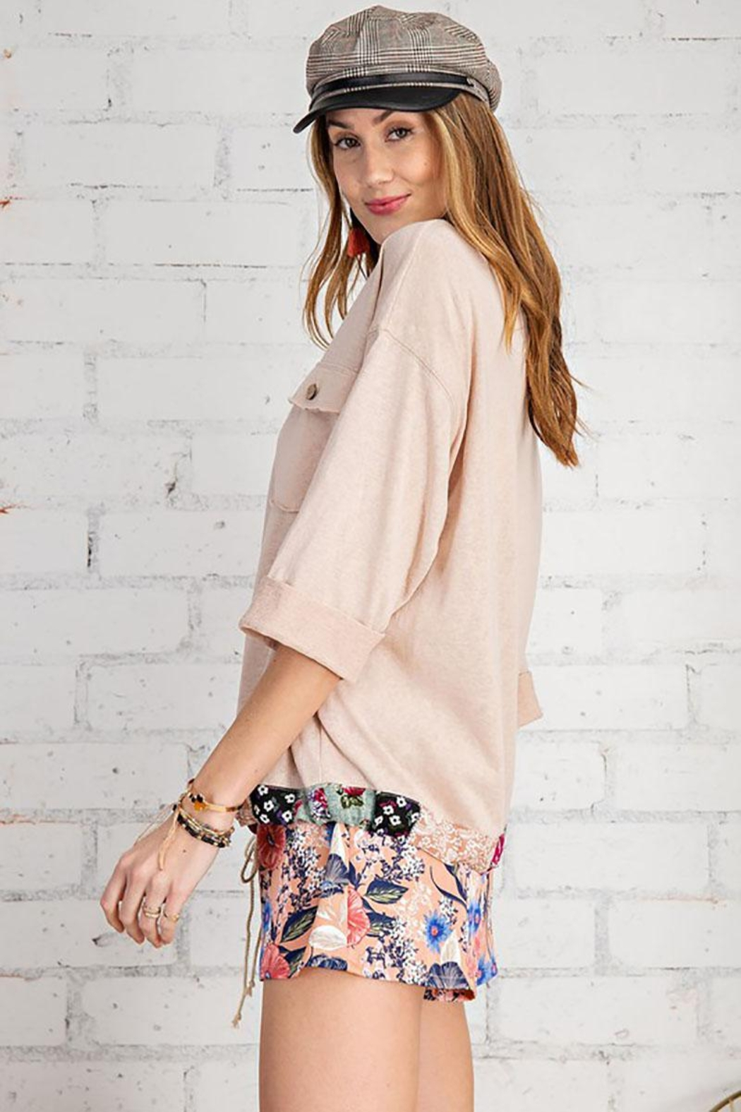 Mint Cloud Boutique Floral And Solid Mix Top With Drawstrings - Front Full Image