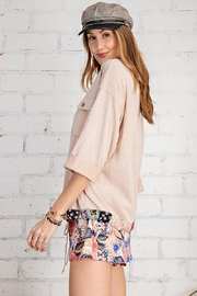 Mint Cloud Boutique Floral And Solid Mix Top With Drawstrings - Front full body
