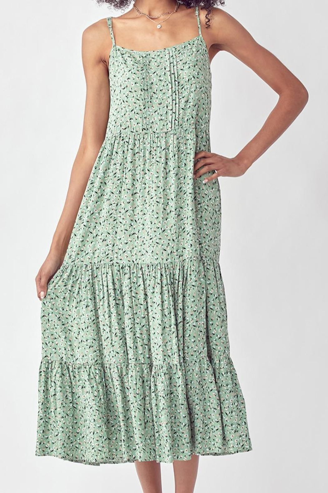 Mint Cloud Boutique Floral Ruffle Tiered Maxi Dress - Main Image