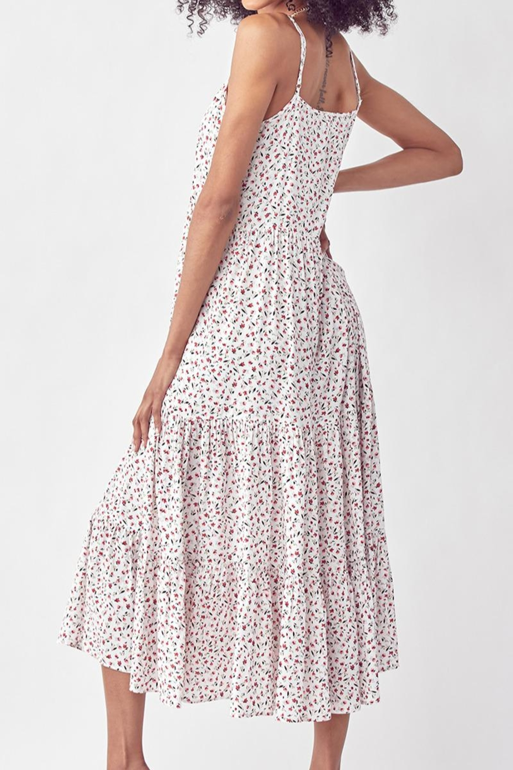 Mint Cloud Boutique Floral Ruffle Tiered Maxi Dress - Front Full Image