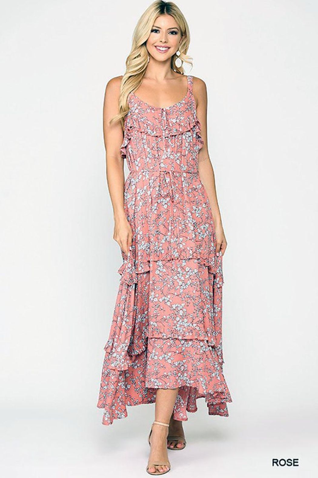 Mint Cloud Boutique Floral Ruffle Tiered Maxi Dress - Front Cropped Image