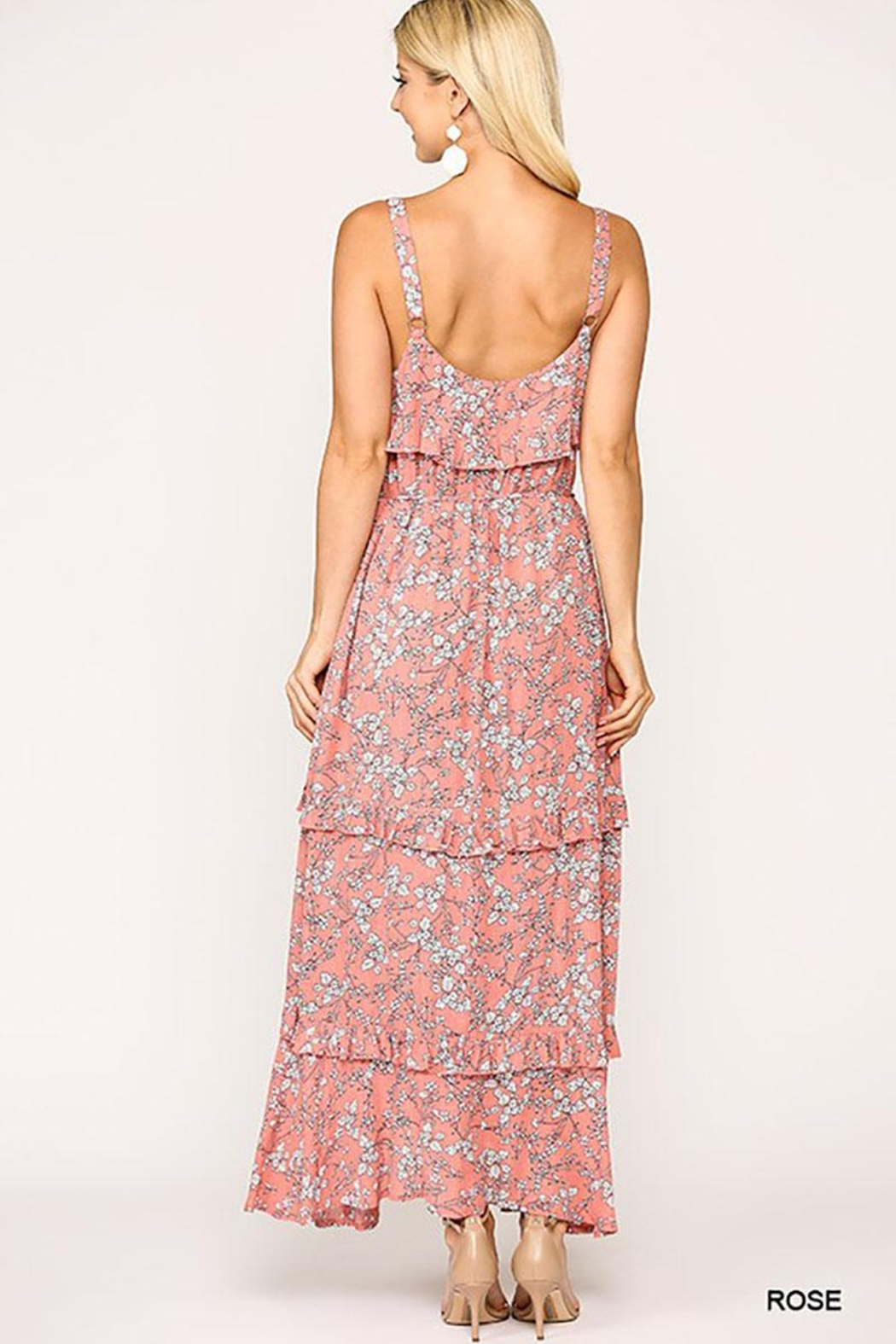 Mint Cloud Boutique Floral Ruffle Tiered Maxi Dress - Side Cropped Image