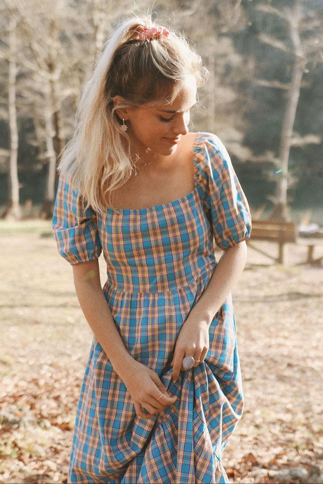 Mint Cloud Boutique Gingham Checkered Back Bow Midi - Front Cropped Image