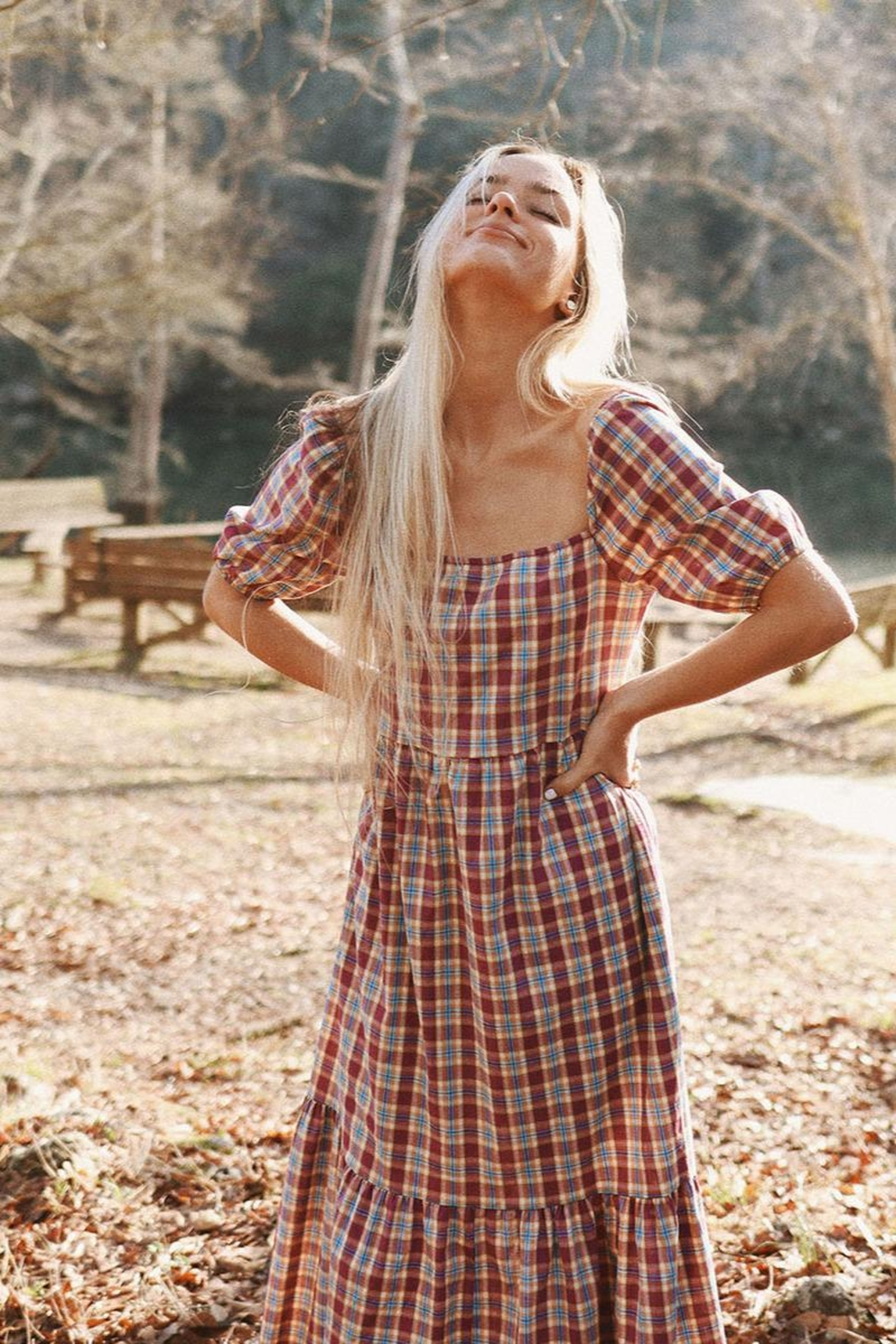 Mint Cloud Boutique Gingham Checkered Back Bow Midi - Main Image