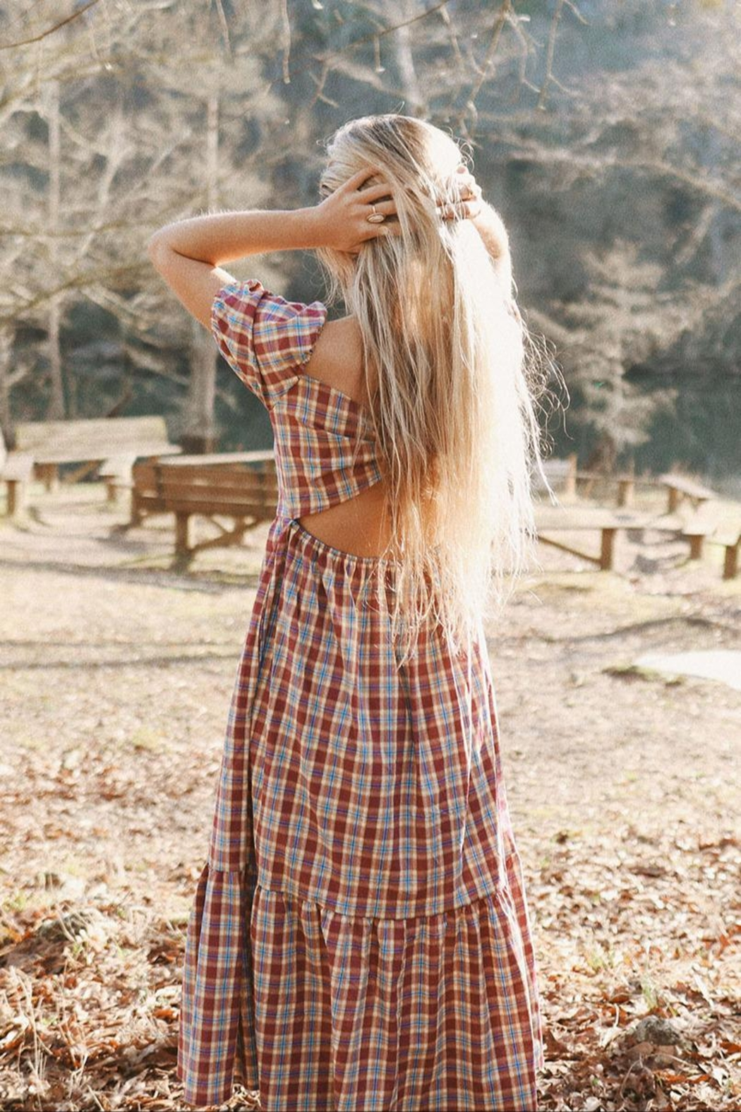 Mint Cloud Boutique Gingham Checkered Back Bow Midi - Back Cropped Image