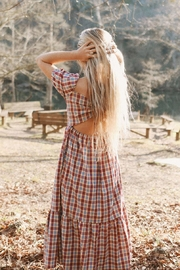 Mint Cloud Boutique Gingham Checkered Back Bow Midi - Back cropped