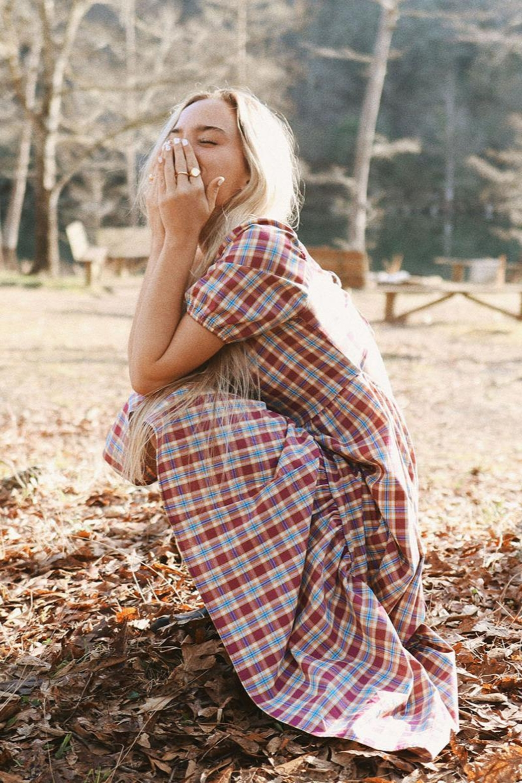 Mint Cloud Boutique Gingham Checkered Back Bow Midi - Side Cropped Image