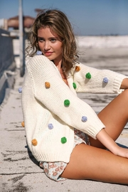 Mint Cloud Boutique Handmade Multi Color Pom Pom Knit Cardigan - Front full body