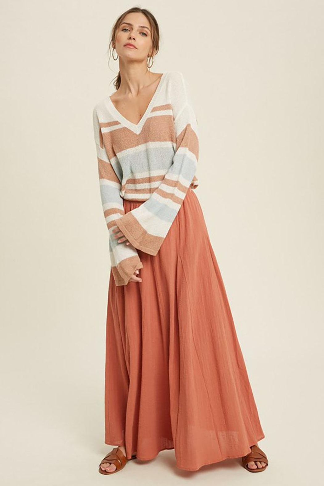 Mint Cloud Boutique Lightweight Colorblock Stripe Knit Pullover - Side Cropped Image