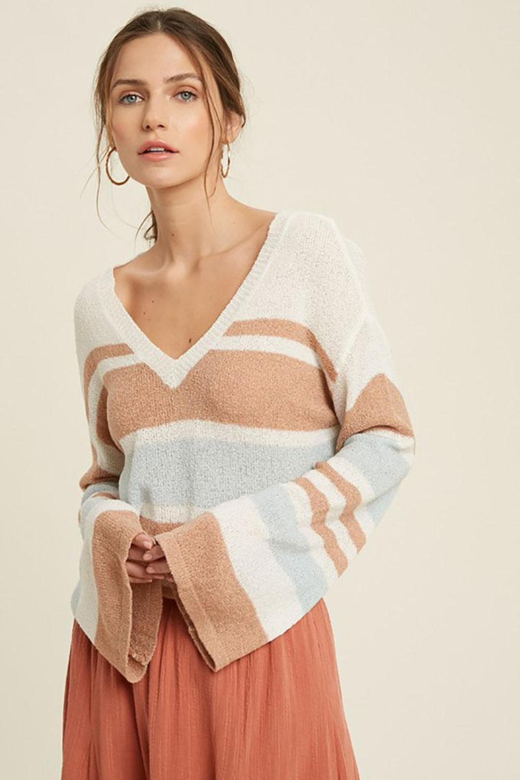 Mint Cloud Boutique Lightweight Colorblock Stripe Knit Pullover - Front Full Image