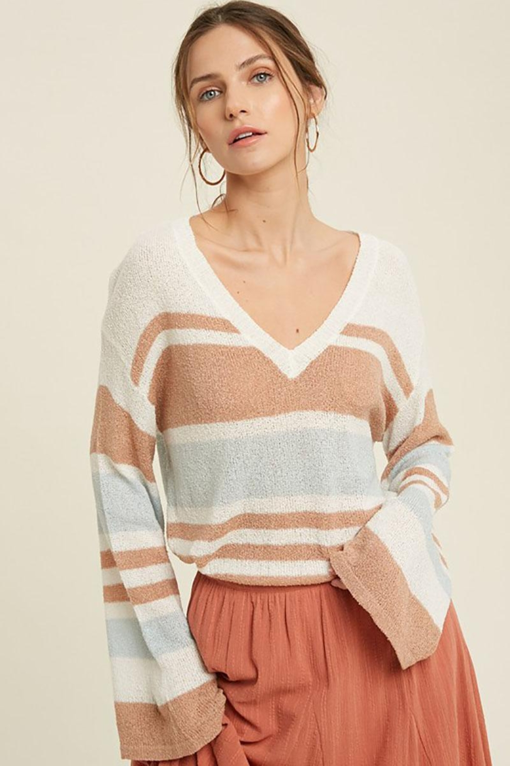 Mint Cloud Boutique Lightweight Colorblock Stripe Knit Pullover - Front Cropped Image
