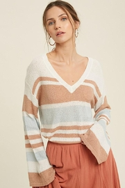 Mint Cloud Boutique Lightweight Colorblock Stripe Knit Pullover - Front cropped