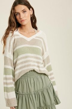 Mint Cloud Boutique Lightweight Colorblock Stripe Knit Pullover - Product List Image