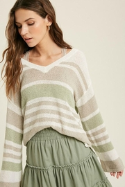 Mint Cloud Boutique Lightweight Colorblock Stripe Knit Pullover - Front full body