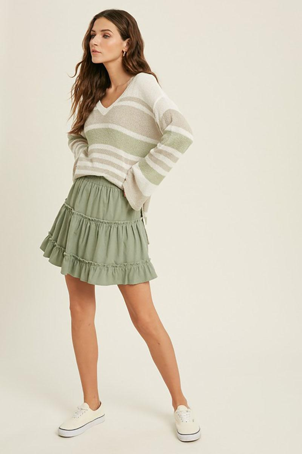 Mint Cloud Boutique Lightweight Colorblock Stripe Knit Pullover - Back Cropped Image