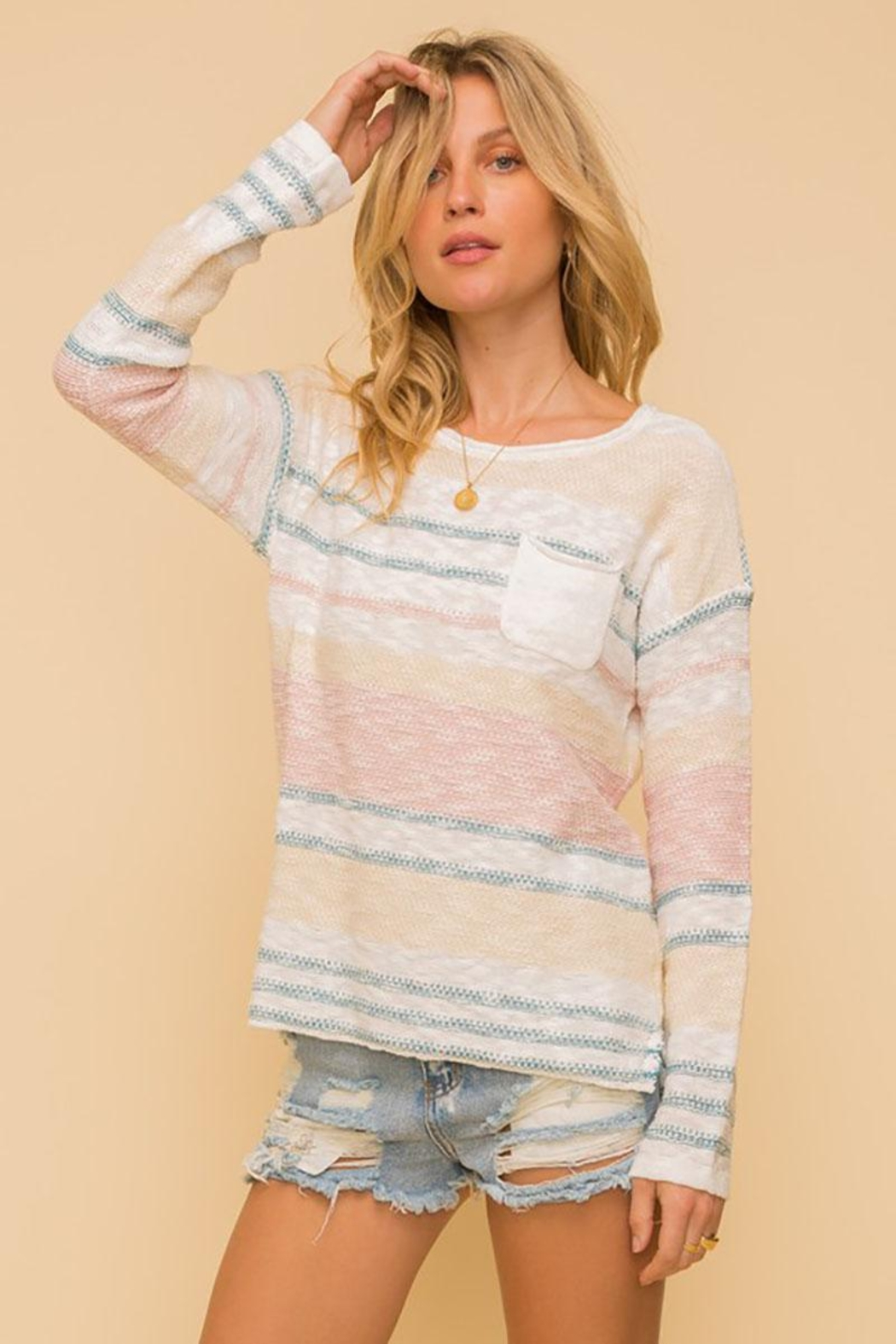 Mint Cloud Boutique Lightweight Cotton Variegated Stripe Knit - Front Cropped Image