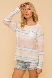 Mint Cloud Boutique Lightweight Cotton Variegated Stripe Knit - Front cropped
