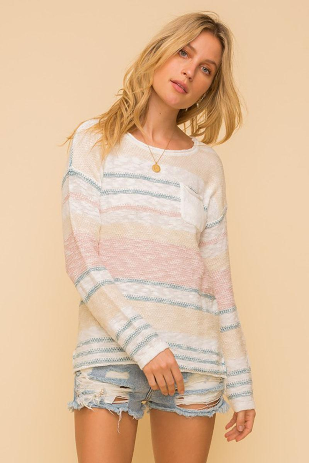 Mint Cloud Boutique Lightweight Cotton Variegated Stripe Knit - Back Cropped Image