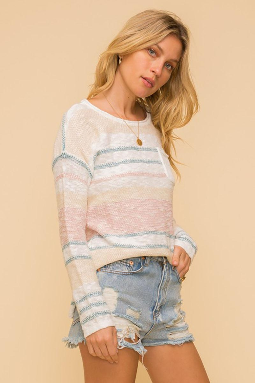 Mint Cloud Boutique Lightweight Cotton Variegated Stripe Knit - Side Cropped Image