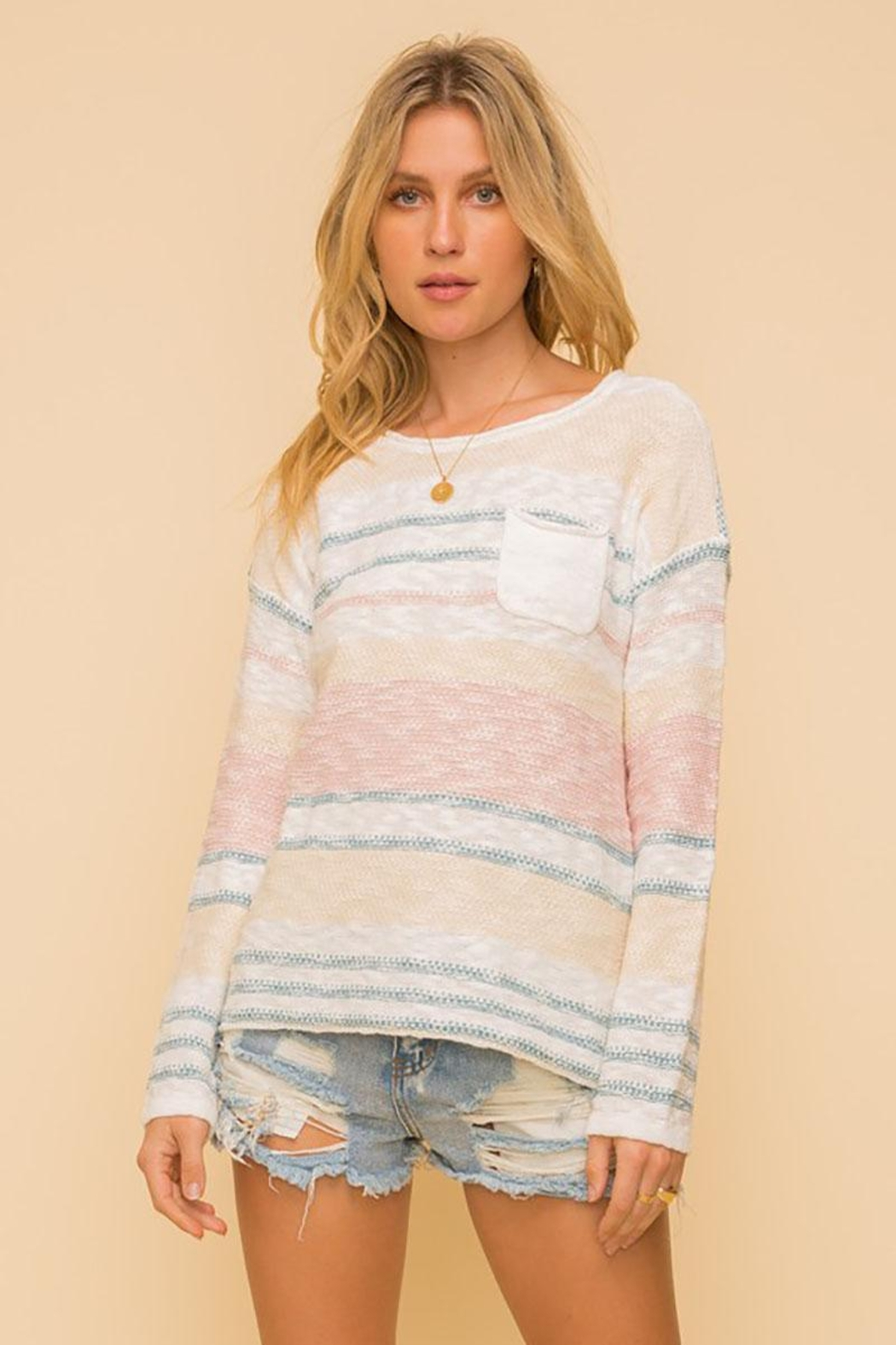 Mint Cloud Boutique Lightweight Cotton Variegated Stripe Knit - Front Full Image