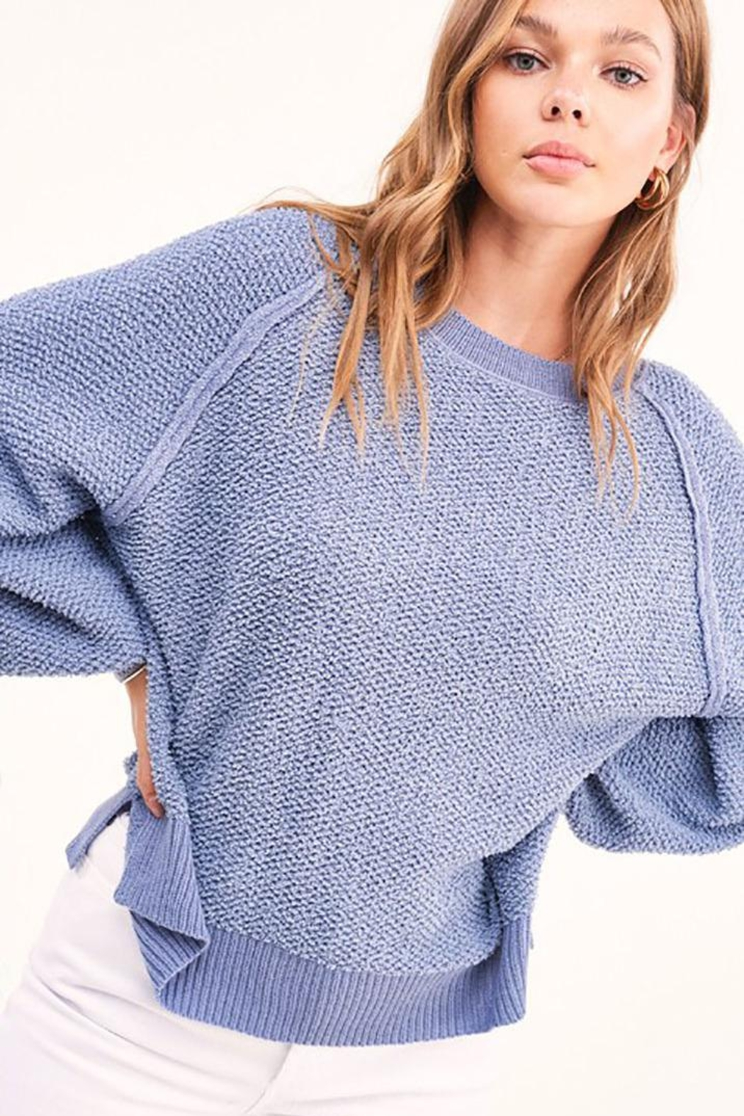 Mint Cloud Boutique Lightweight Knit Pullover Sweater Top - Front Full Image