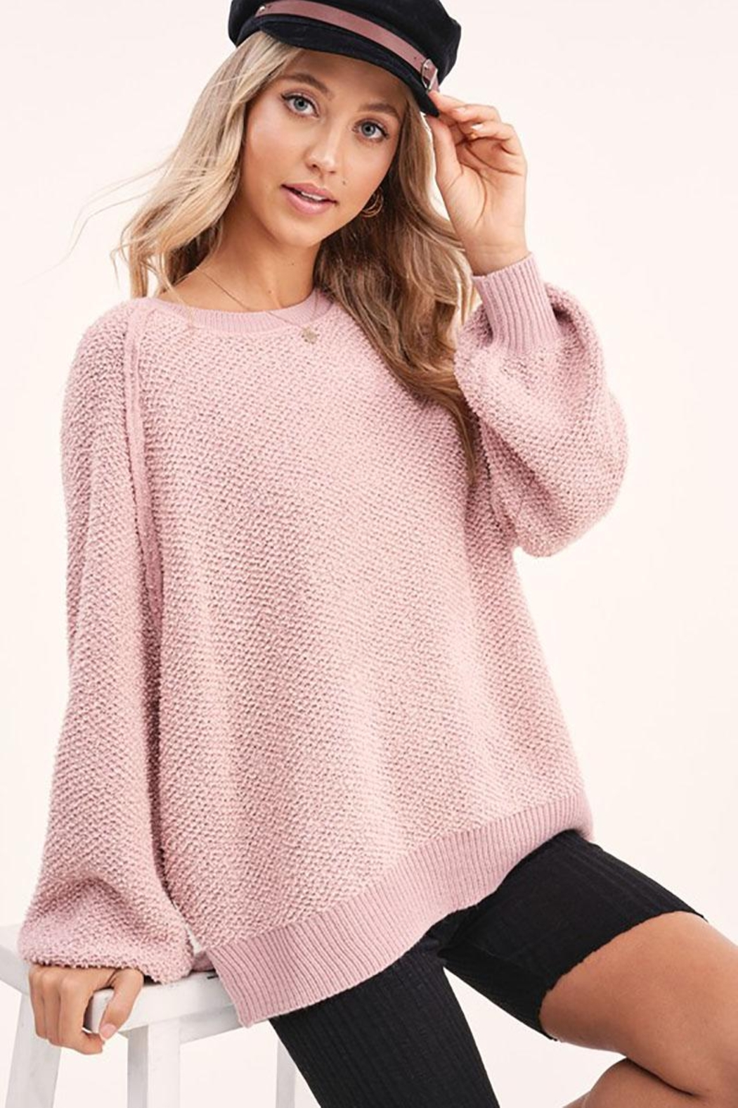 Mint Cloud Boutique Lightweight Knit Pullover Sweater Top - Front Cropped Image