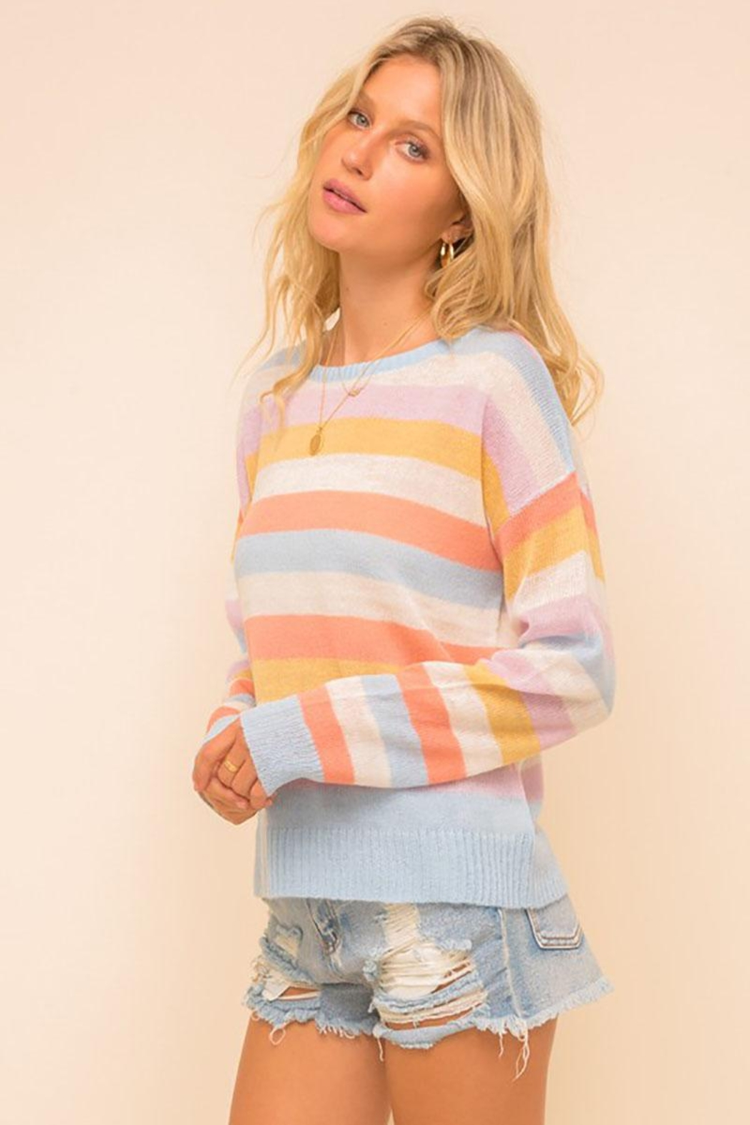 Mint Cloud Boutique Multi Colored Stripe Pullover Sweater Top - Side Cropped Image