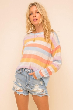 Mint Cloud Boutique Multi Colored Stripe Pullover Sweater Top - Product List Image